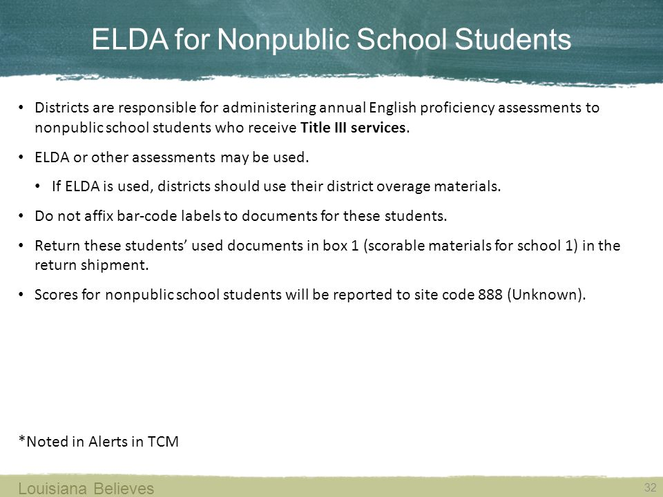 ELDA for Nonpublic School Students 32 Louisiana Believes Districts are responsible for administering annual English proficiency assessments to nonpublic school students who receive Title III services.