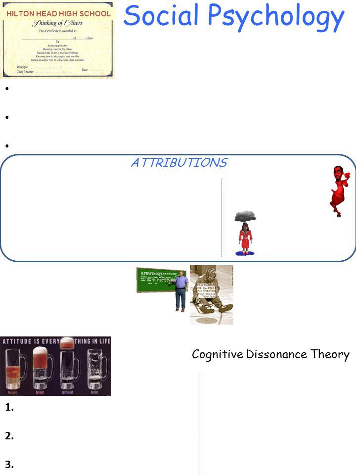 HILTON HEAD HIGH SCHOOL Social Psychology ATTRIBUTIONS 1. 2. 3. Cognitive Dissonance Theory