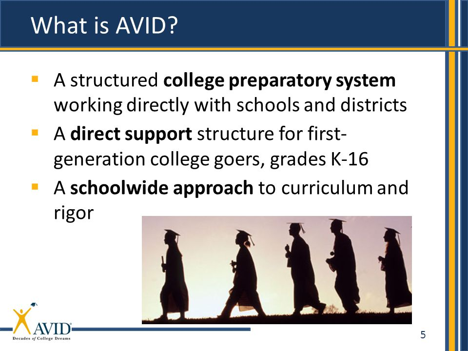 5  A structured college preparatory system working directly with schools and districts  A direct support structure for first- generation college goers, grades K-16  A schoolwide approach to curriculum and rigor What is AVID?