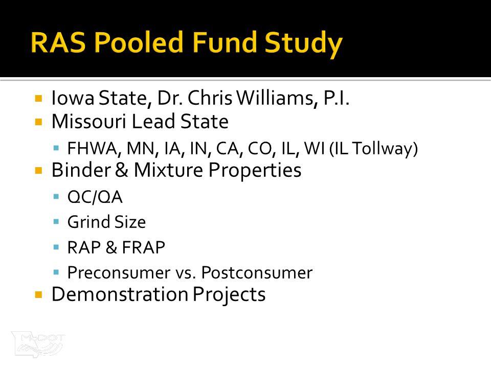  Iowa State, Dr. Chris Williams, P.I.  Missouri Lead State  FHWA, MN, IA, IN, CA, CO, IL, WI (IL Tollway)  Binder & Mixture Properties  QC/QA  G