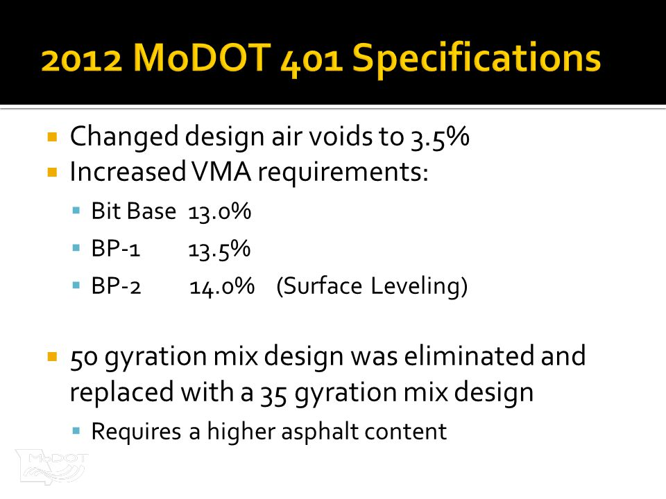  Changed design air voids to 3.5%  Increased VMA requirements:  Bit Base 13.0%  BP-1 13.5%  BP-2 14.0% (Surface Leveling)  50 gyration mix design was eliminated and replaced with a 35 gyration mix design  Requires a higher asphalt content