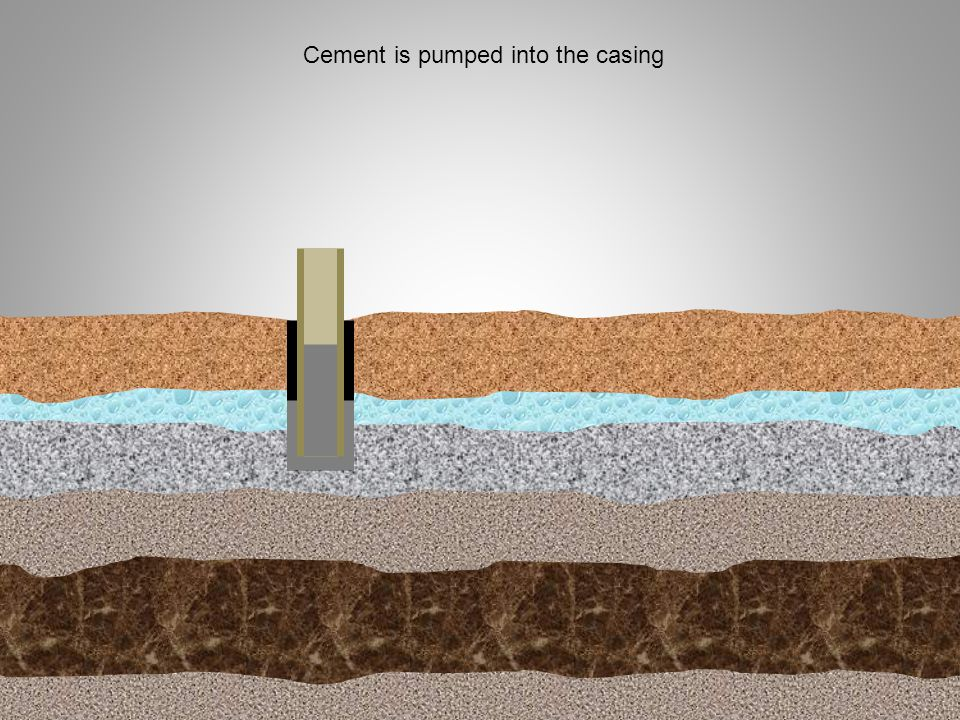 Cement is pumped into the casing
