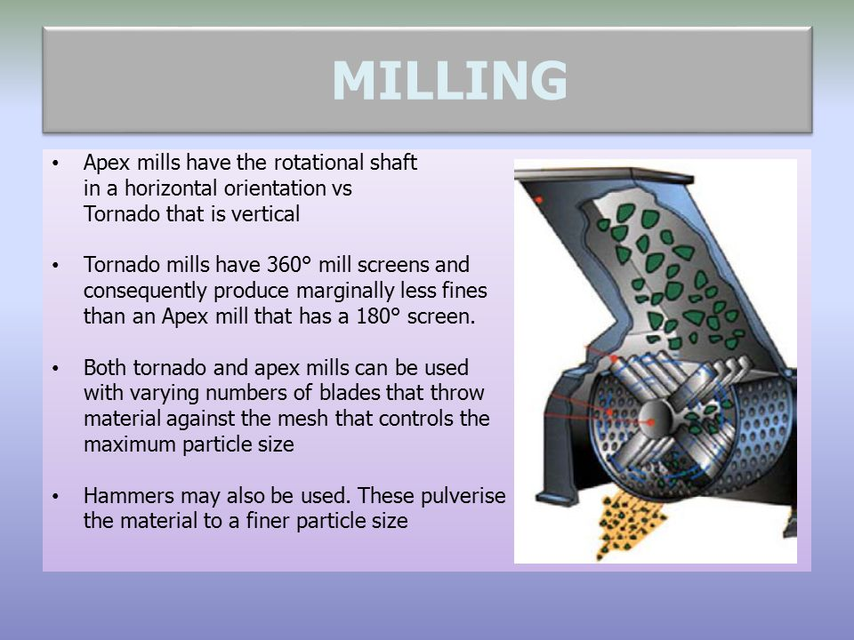 MILLING Apex mills have the rotational shaft in a horizontal orientation vs Tornado that is vertical Tornado mills have 360° mill screens and conseque