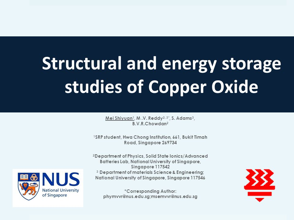 Structural and energy storage studies of Copper Oxide Mei Shiyuan 1, M.V.