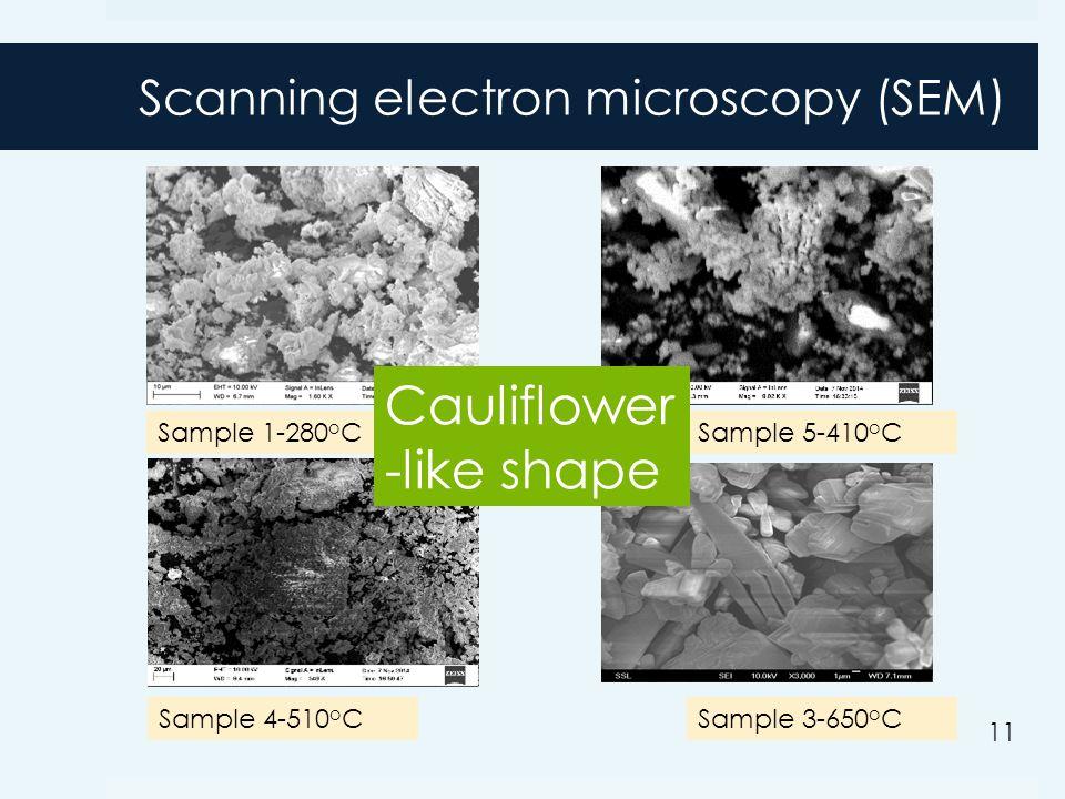 Scanning electron microscopy (SEM) Sample 1-280 o CSample 5-410 o C Sample 4-510 o CSample 3-650 o C Cauliflower -like shape 1