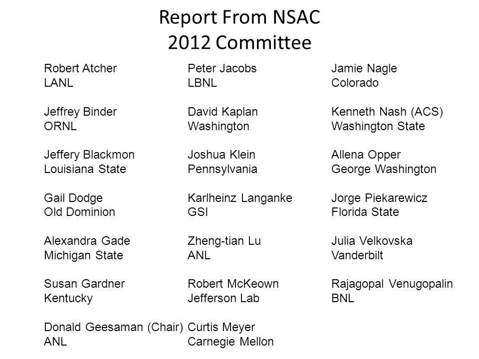 Report From NSAC 2012 Committee Robert AtcherPeter JacobsJamie Nagle LANLLBNLColorado Jeffrey BinderDavid KaplanKenneth Nash (ACS) ORNLWashingtonWashi