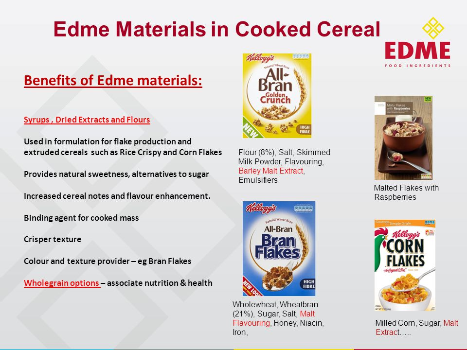 Edme Materials in Cooked Cereal Wholewheat, Wheatbran (21%), Sugar, Salt, Malt Flavouring, Honey, Niacin, Iron, Flour (8%), Salt, Skimmed Milk Powder, Flavouring, Barley Malt Extract, Emulsifiers Malted Flakes with Raspberries Milled Corn, Sugar, Malt Extract…..