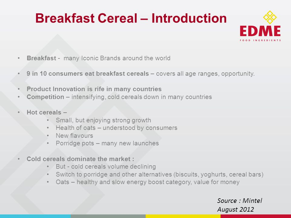 Breakfast Cereal – innovation trends Healthier cereals.