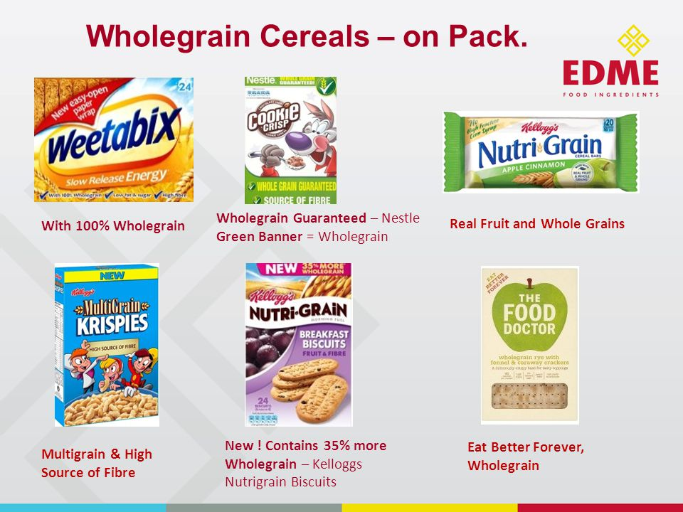 Wholegrain Cereals – on Pack.