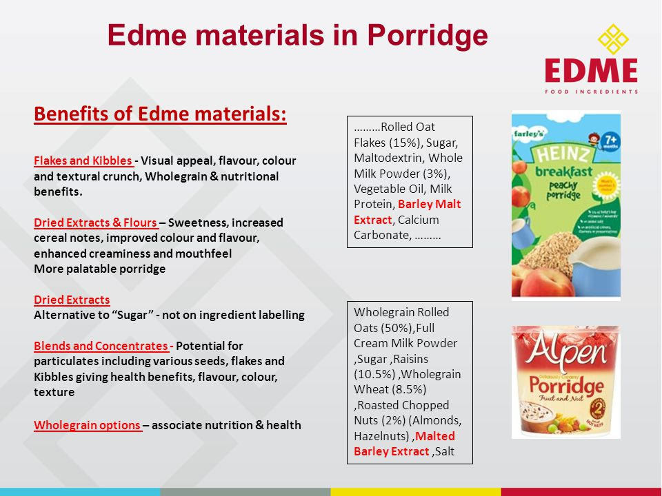 Edme materials in Porridge ………Rolled Oat Flakes (15%), Sugar, Maltodextrin, Whole Milk Powder (3%), Vegetable Oil, Milk Protein, Barley Malt Extract, Calcium Carbonate, ……… Wholegrain Rolled Oats (50%),Full Cream Milk Powder,Sugar,Raisins (10.5%),Wholegrain Wheat (8.5%),Roasted Chopped Nuts (2%) (Almonds, Hazelnuts),Malted Barley Extract,Salt Benefits of Edme materials: Flakes and Kibbles - Visual appeal, flavour, colour and textural crunch, Wholegrain & nutritional benefits.