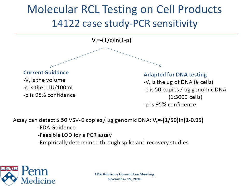 FDA Advisory Committee Meeting November 19, 2010 Molecular RCL Testing on Cell Products 14122 case study-PCR sensitivity Assay can detect ≤ 50 VSV-G c