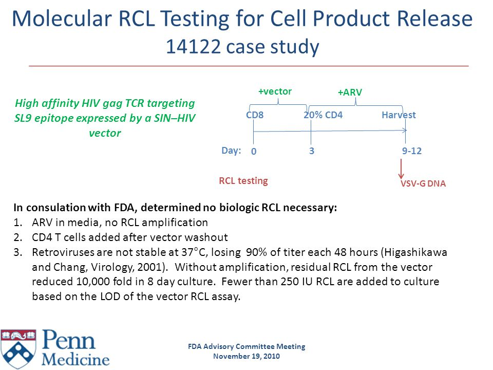FDA Advisory Committee Meeting November 19, 2010 Molecular RCL Testing on Cell Products 14122 case study-PCR sensitivity Testing 1% of cell product not feasible.