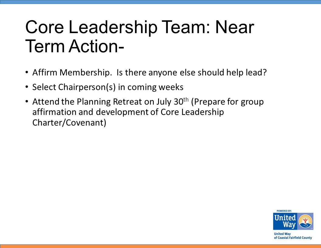 Core Leadership Team: Near Term Action- Affirm Membership.