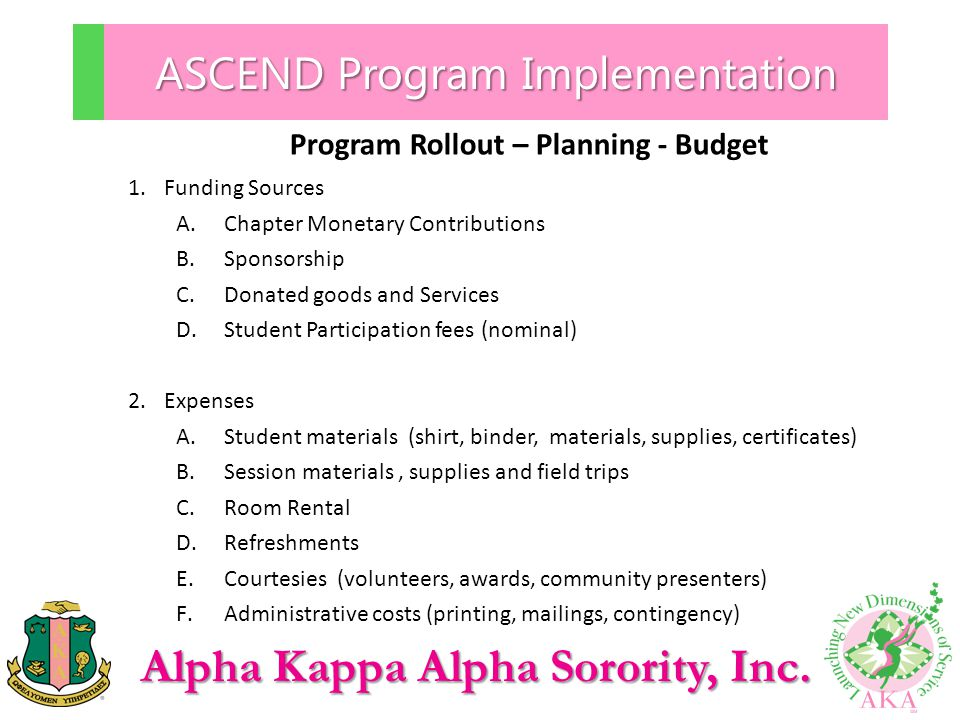 Alpha Kappa Alpha Sorority, Inc. ASCEND Program Implementation Program Rollout – Planning - Budget 1.Funding Sources A.Chapter Monetary Contributions