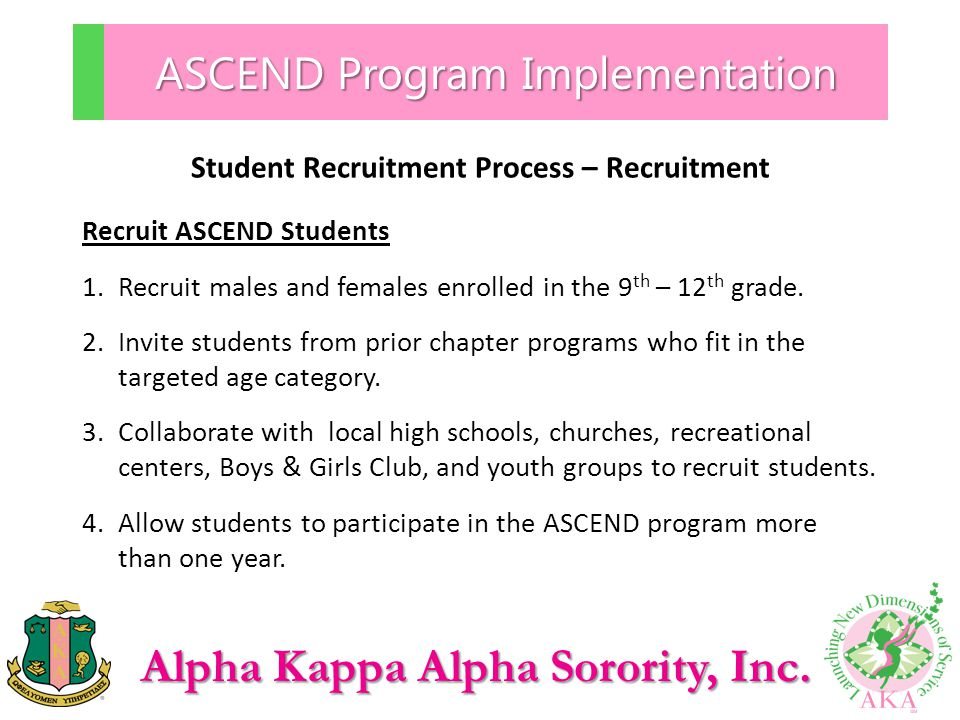 Alpha Kappa Alpha Sorority, Inc. ASCEND Program Implementation Student Recruitment Process – Recruitment Recruit ASCEND Students 1.Recruit males and f