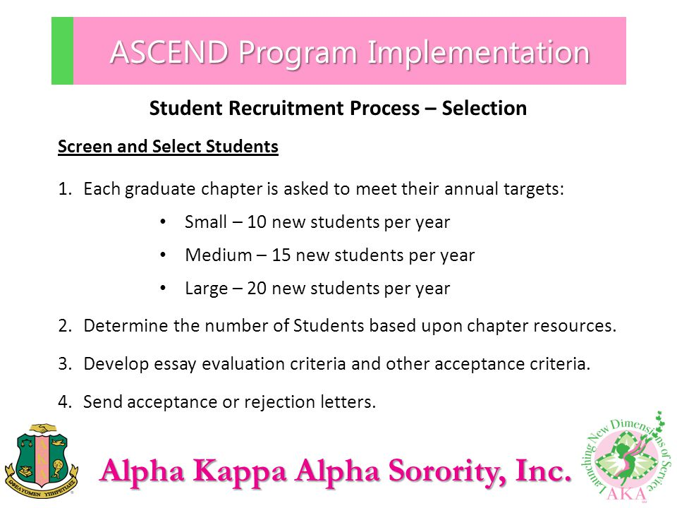 Alpha Kappa Alpha Sorority, Inc. ASCEND Program Implementation Student Recruitment Process – Selection Screen and Select Students 1.Each graduate chap