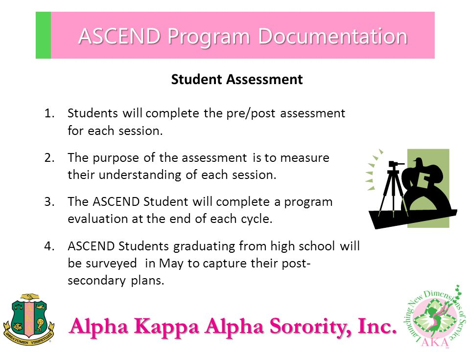 Alpha Kappa Alpha Sorority, Inc. ASCEND Program Documentation Student Assessment 1.Students will complete the pre/post assessment for each session. 2.