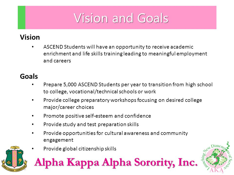 Alpha Kappa Alpha Sorority, Inc. Vision and Goals Vision ASCEND Students will have an opportunity to receive academic enrichment and life skills train