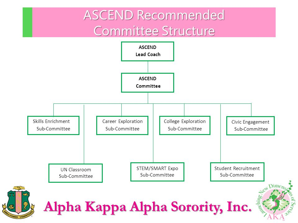 Alpha Kappa Alpha Sorority, Inc. ASCEND Recommended Committee Structure ASCEND Committee Career Exploration Sub-Committee College Exploration Sub-Comm