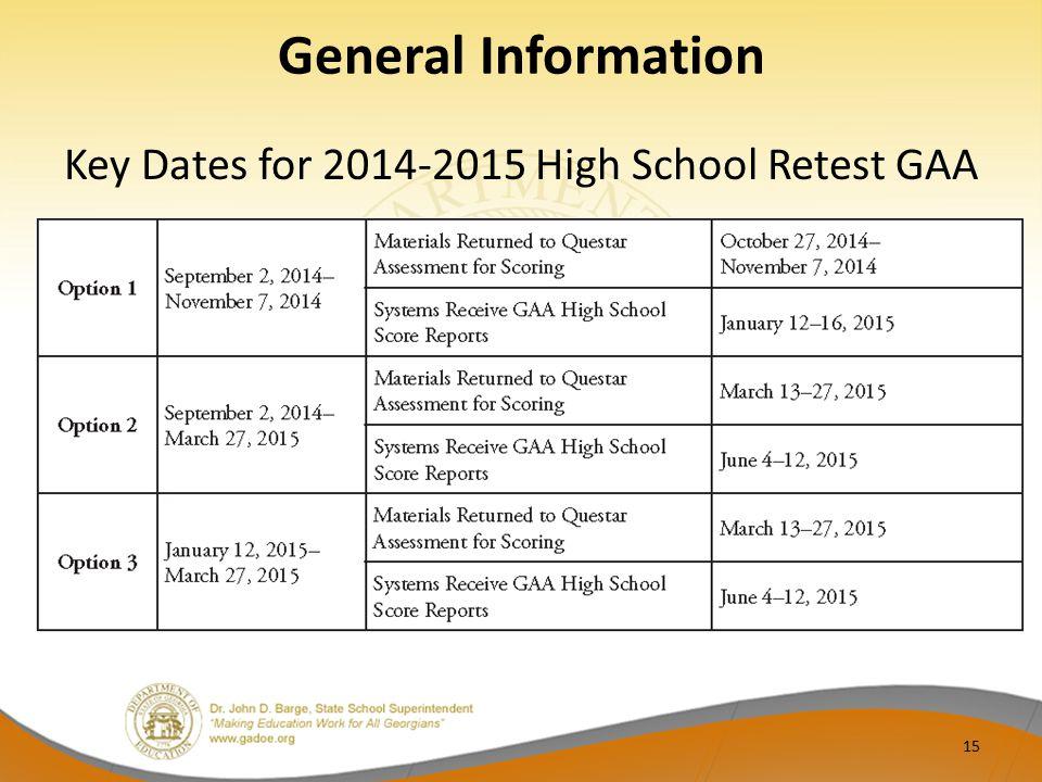 General Information Key Dates for 2014-2015 High School Retest GAA 15