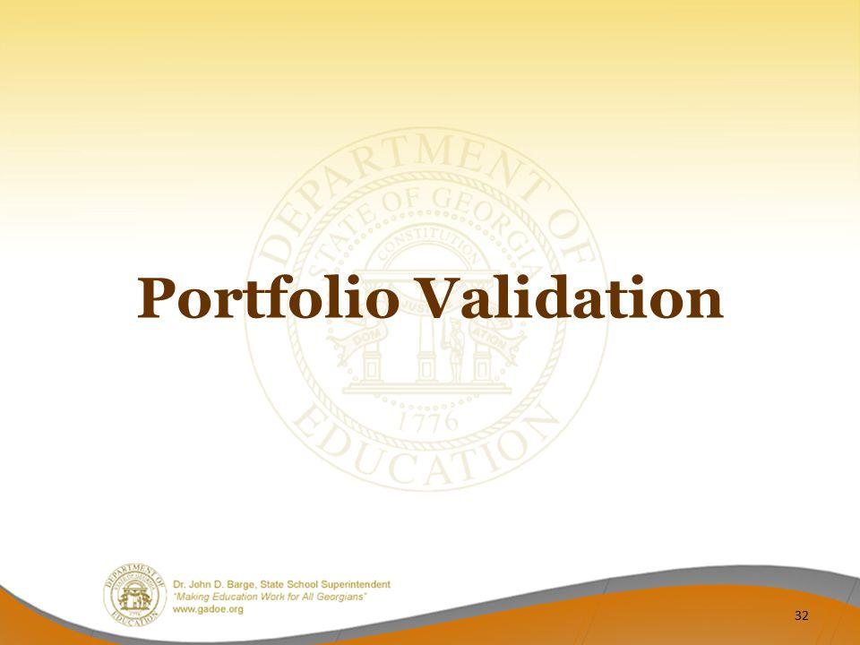 Portfolio Validation 32