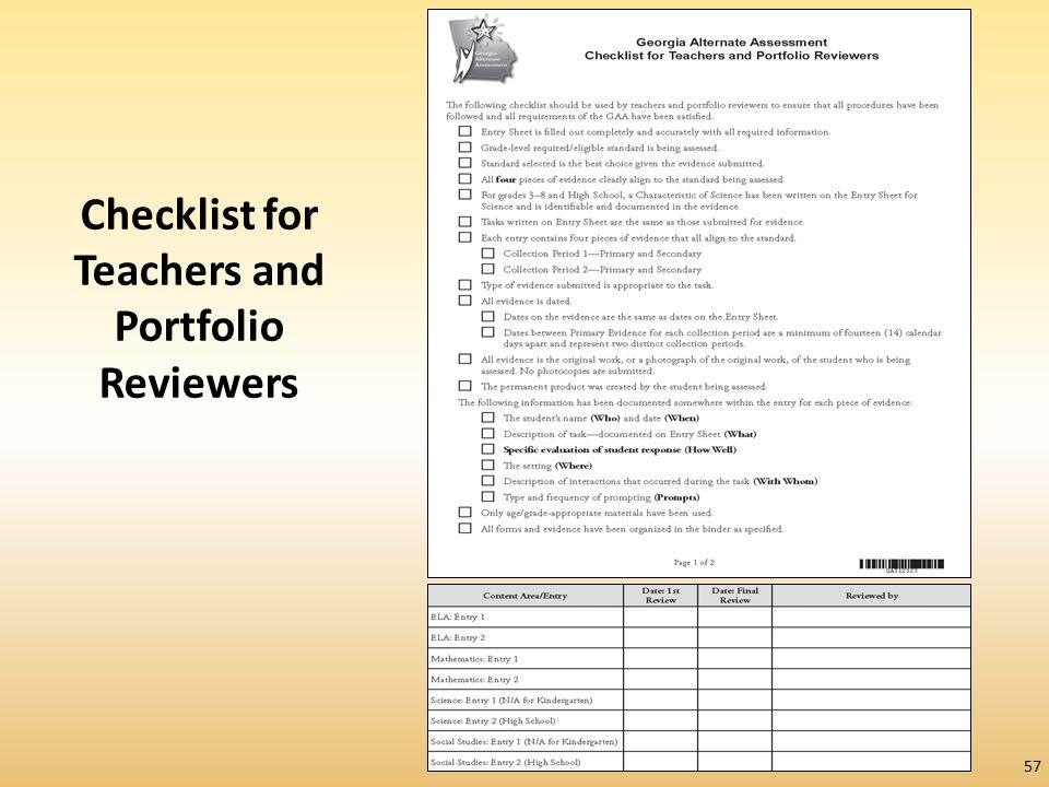 Checklist for Teachers and Portfolio Reviewers 57