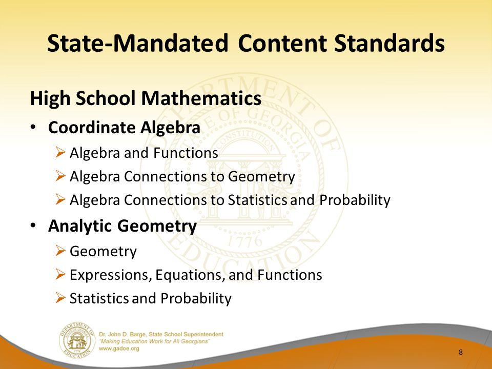 State-Mandated Content Standards High School Mathematics Coordinate Algebra  Algebra and Functions  Algebra Connections to Geometry  Algebra Connec