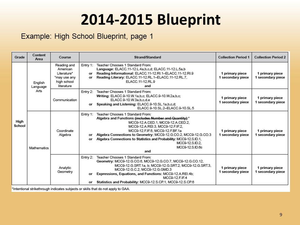 9 2014-2015 Blueprint Example: High School Blueprint, page 1