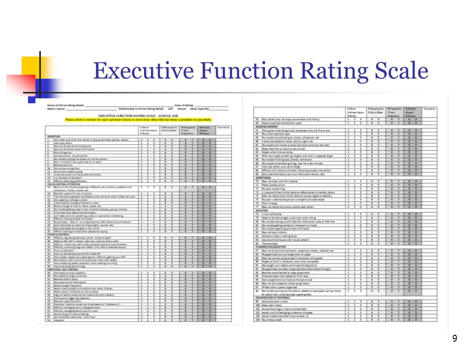 Executive Function Rating Scale 9
