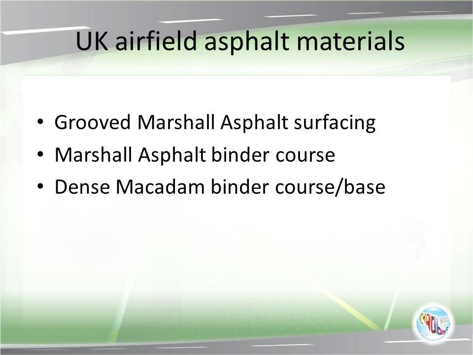 UK airfield asphalt materials Grooved Marshall Asphalt surfacing Marshall Asphalt binder course Dense Macadam binder course/base