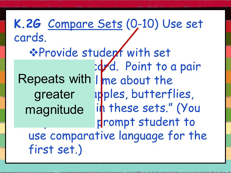 K.2G Compare Sets (0-10) Use set cards.  Provide student with set comparison card.