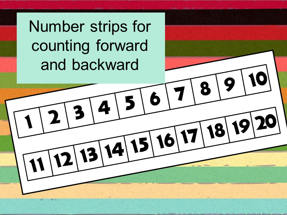 Number strips for counting forward and backward