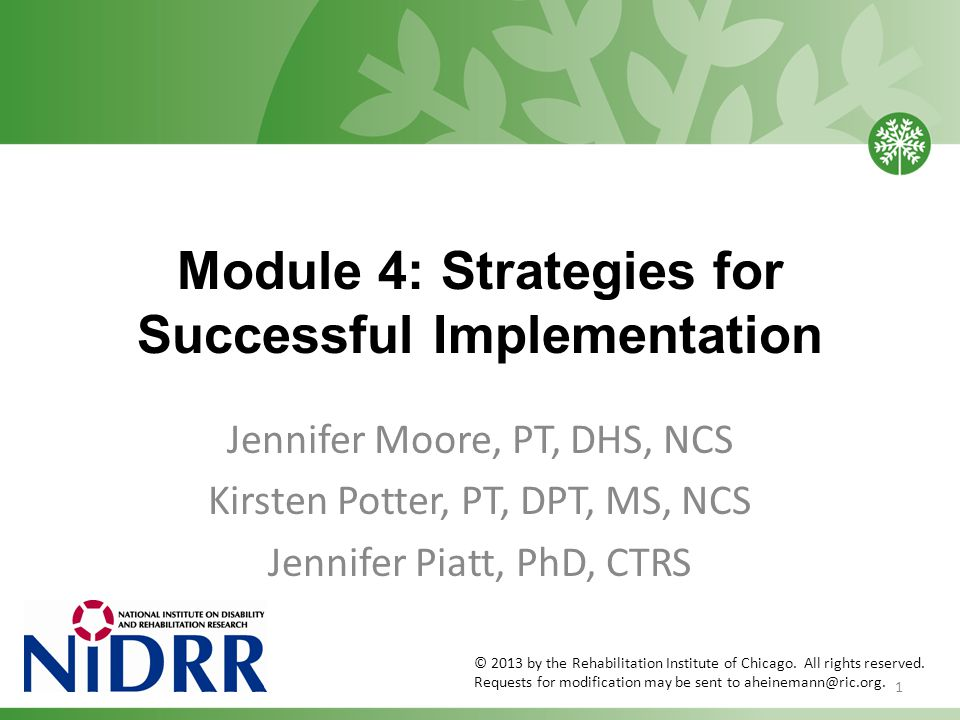 Module 4: Strategies for Successful Implementation Jennifer Moore, PT, DHS, NCS Kirsten Potter, PT, DPT, MS, NCS Jennifer Piatt, PhD, CTRS 1 © 2013 by