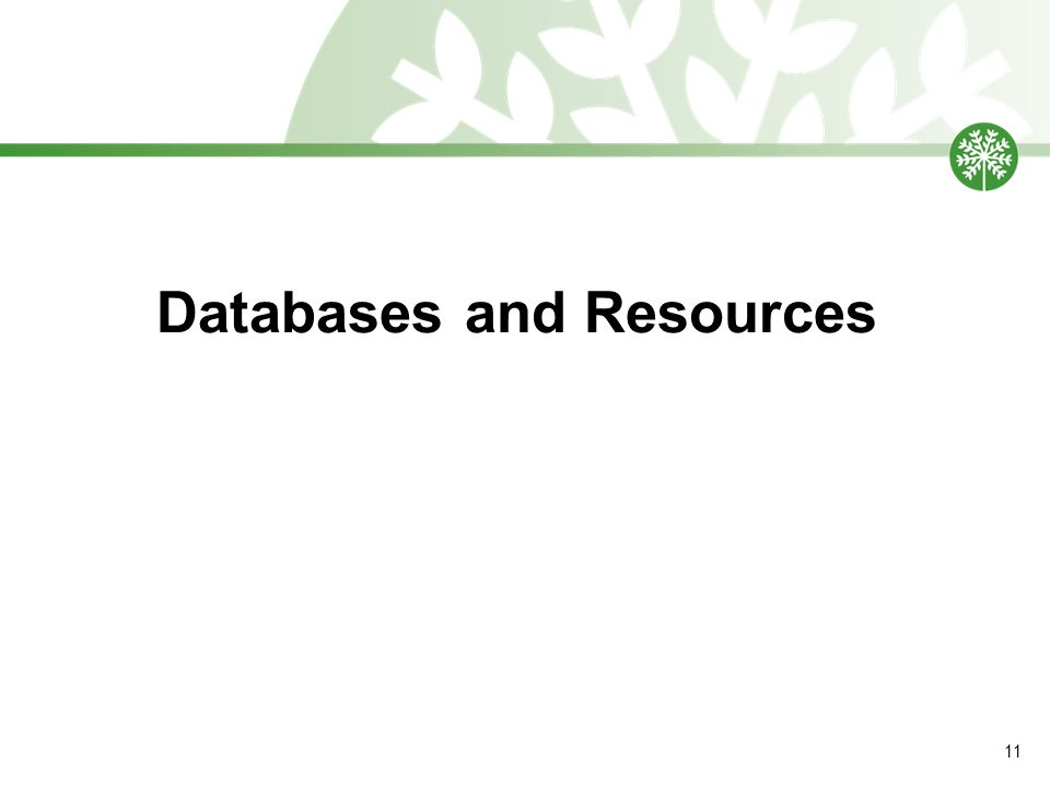 Databases and Resources 11
