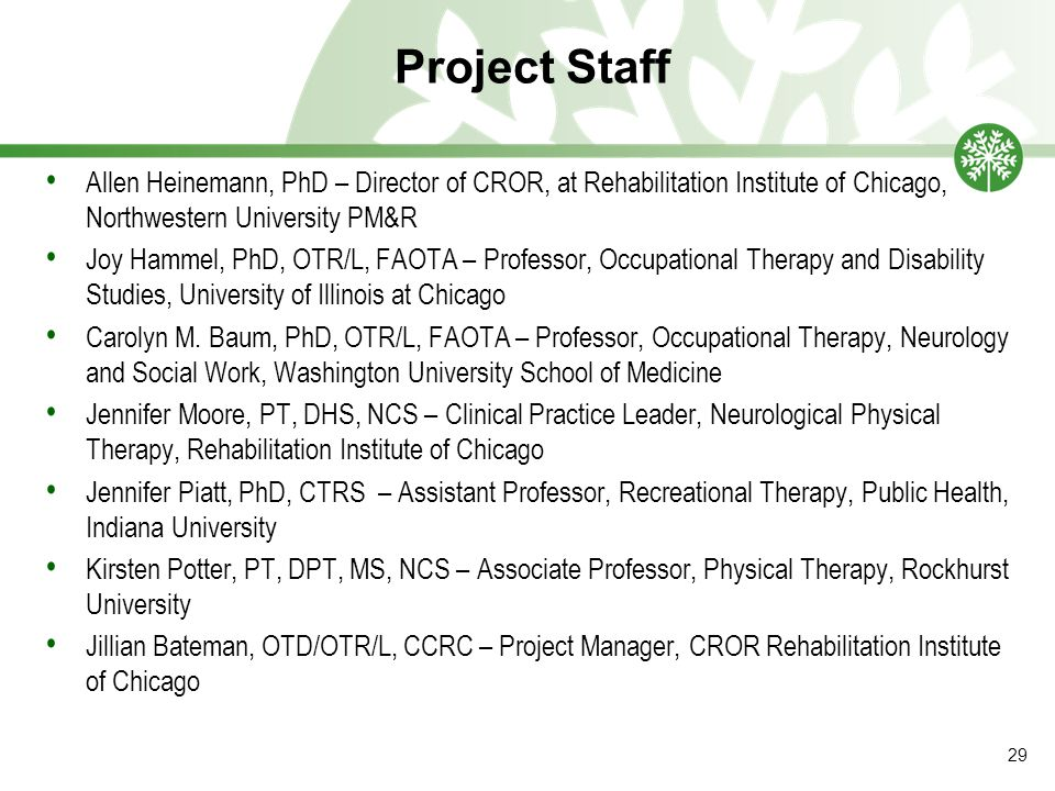 Project Staff Allen Heinemann, PhD – Director of CROR, at Rehabilitation Institute of Chicago, Northwestern University PM&R Joy Hammel, PhD, OTR/L, FAOTA – Professor, Occupational Therapy and Disability Studies, University of Illinois at Chicago Carolyn M.