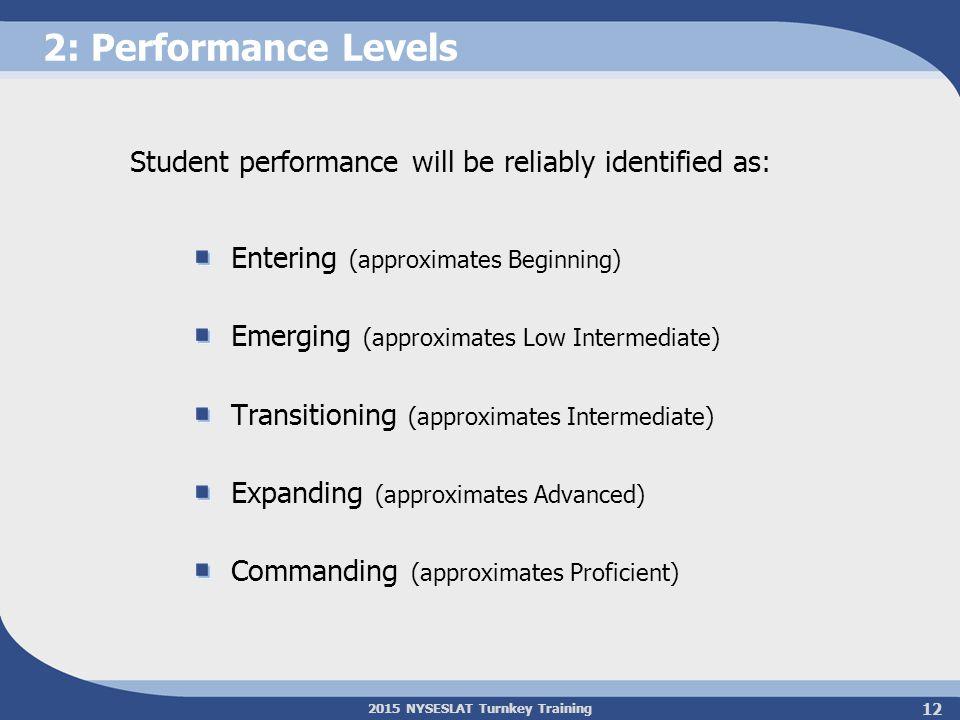 2015 NYSESLAT Turnkey Training 2: Performance Levels Entering (approximates Beginning) Emerging (approximates Low Intermediate) Transitioning (approxi
