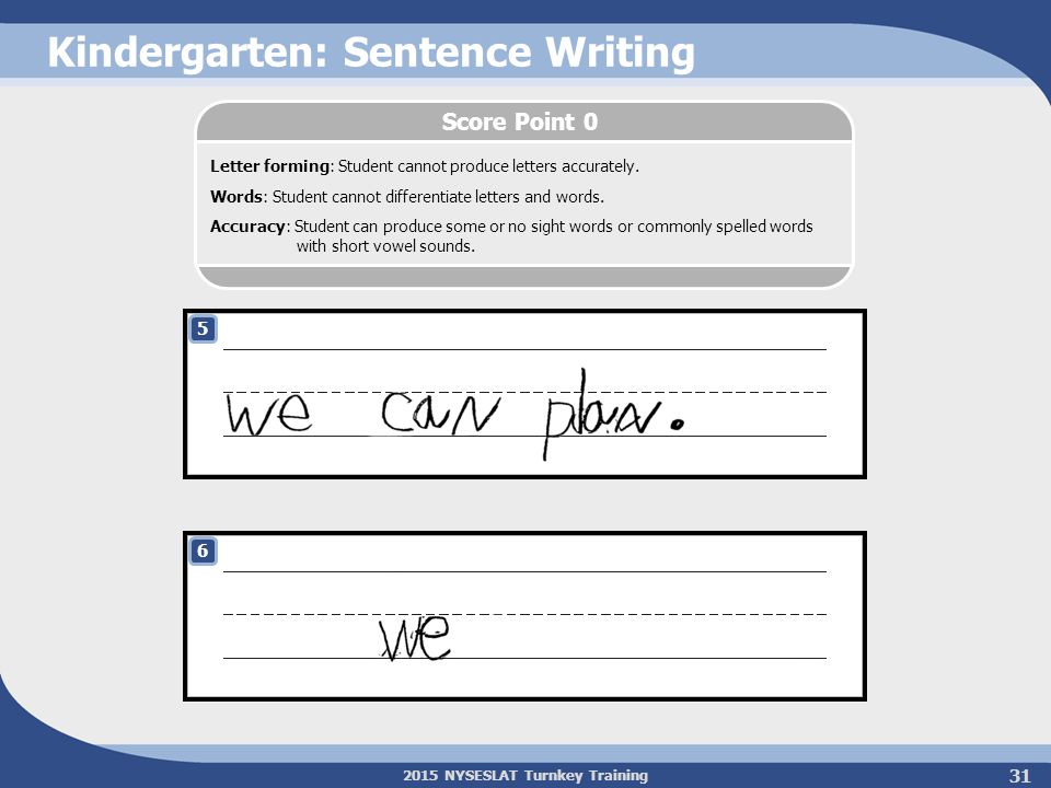 2015 NYSESLAT Turnkey Training Kindergarten: Sentence Writing 5 6 Letter forming: Student cannot produce letters accurately. Words: Student cannot dif