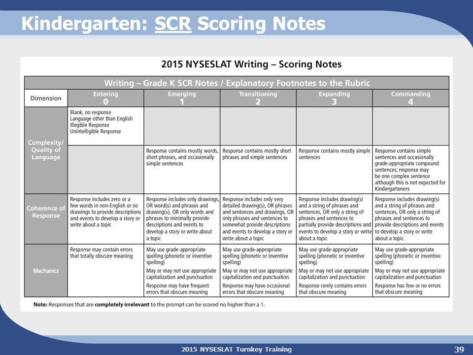 2015 NYSESLAT Turnkey Training Kindergarten: SCR Scoring Notes 39