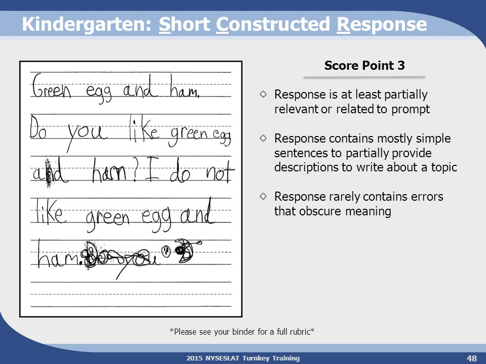 2015 NYSESLAT Turnkey Training Kindergarten: Short Constructed Response Score Point 3 Response is at least partially relevant or related to prompt Res