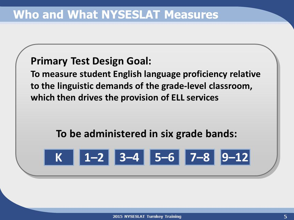 2015 NYSESLAT Turnkey Training Administration Highlights Speaking test is separate from Listening/Reading/Writing (L/R/W) test administration windows Still four testing sessions: One for Speaking and three for L/R/W, although L/R/W now have an integrated configuration Test remains untimed Speaking test administered individually L/R/W administered to groups of students Rubric-based scoring of Speaking and Writing Similarities 6