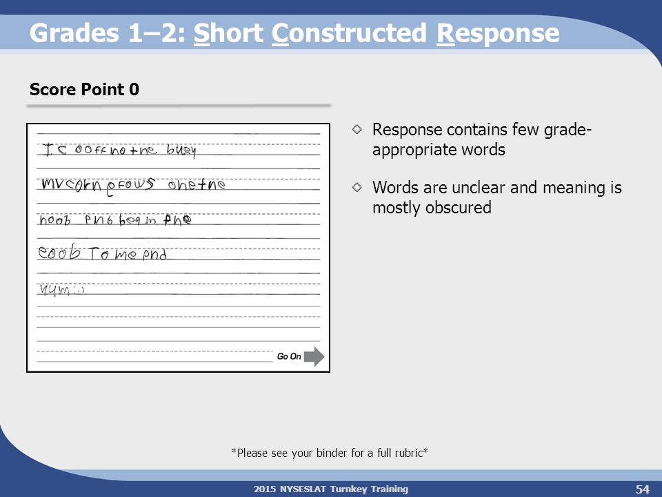 2015 NYSESLAT Turnkey Training Grades 1–2: Short Constructed Response Response contains few grade- appropriate words Words are unclear and meaning is