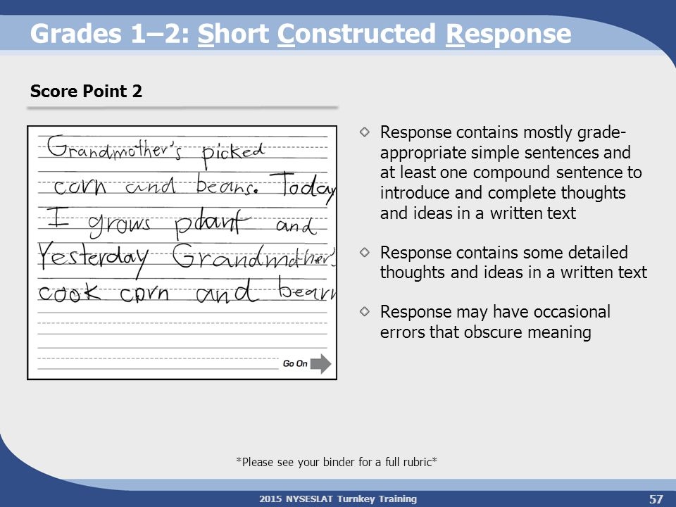 2015 NYSESLAT Turnkey Training Grades 1–2: Short Constructed Response Response contains mostly grade- appropriate simple sentences and at least one co