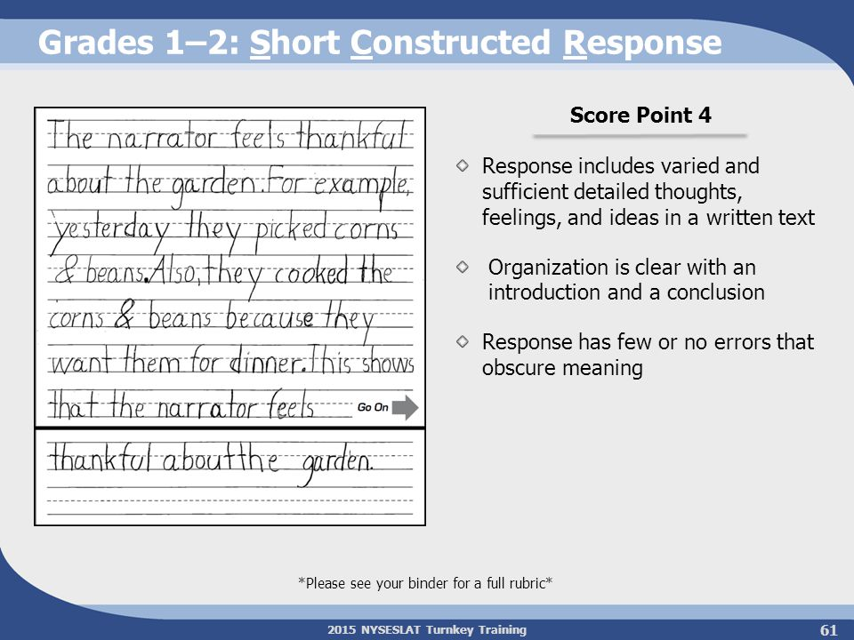 2015 NYSESLAT Turnkey Training Grades 1–2: Short Constructed Response Score Point 4 Response includes varied and sufficient detailed thoughts, feeling