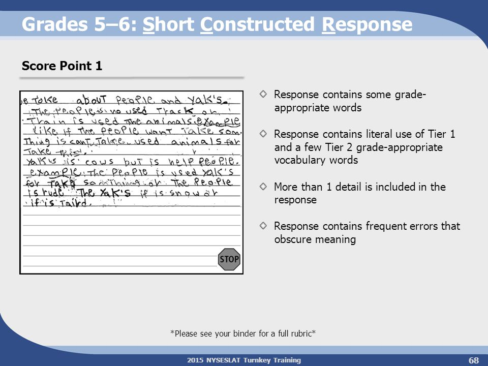 2015 NYSESLAT Turnkey Training Grades 5–6: Short Constructed Response Response contains some grade- appropriate words Response contains literal use of