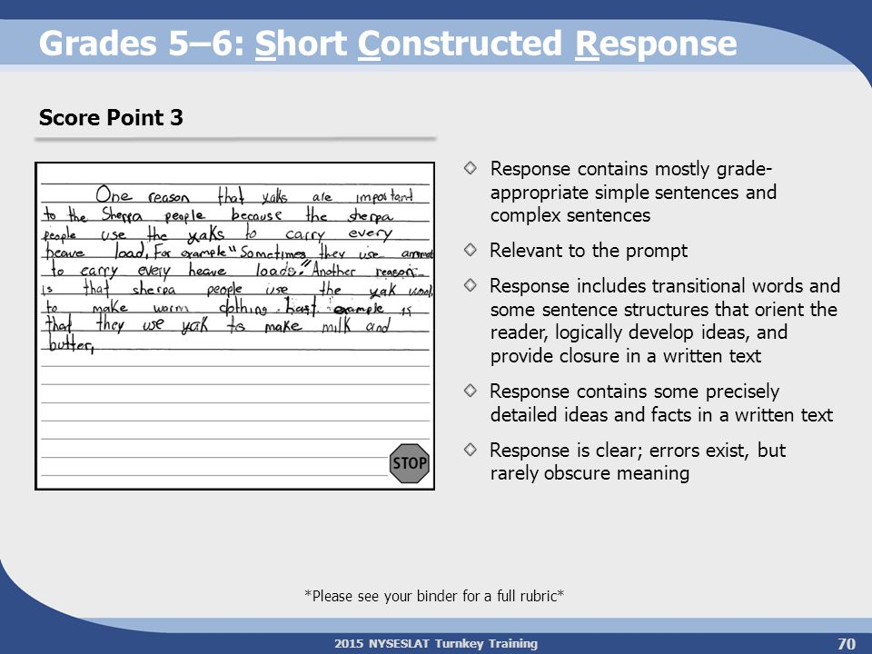 2015 NYSESLAT Turnkey Training Grades 5–6: Short Constructed Response Response contains mostly grade- appropriate simple sentences and complex sentenc