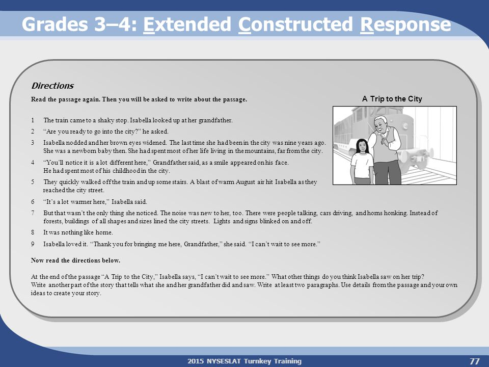 2015 NYSESLAT Turnkey Training Grades 3–4: Extended Constructed Response 77 Directions Read the passage again. Then you will be asked to write about t