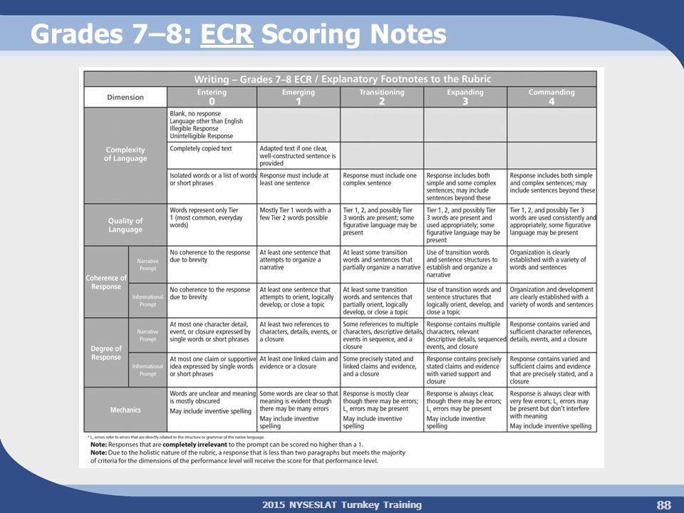 2015 NYSESLAT Turnkey Training Grades 7–8: ECR Scoring Notes 88