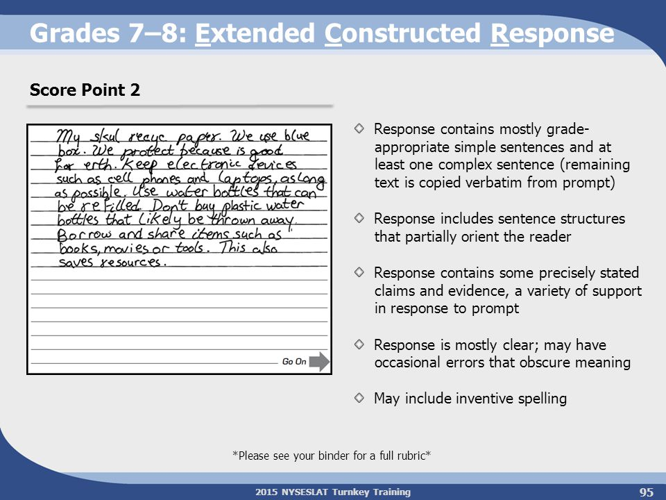 2015 NYSESLAT Turnkey Training Grades 7–8: Extended Constructed Response *Please see your binder for a full rubric* Score Point 2 Response contains mo