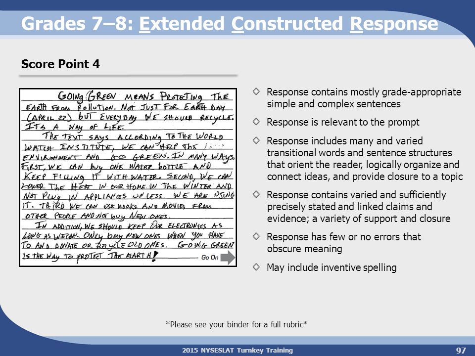 2015 NYSESLAT Turnkey Training Grades 7–8: Extended Constructed Response *Please see your binder for a full rubric* Score Point 4 Response contains mo