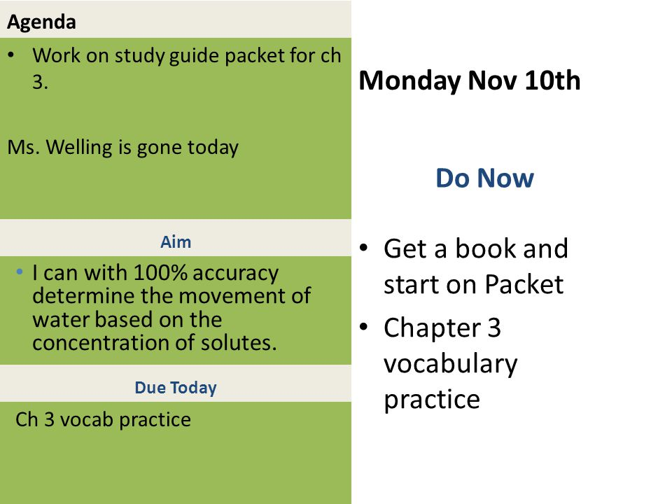 Agenda Work on study guide packet for ch 3. Ms.